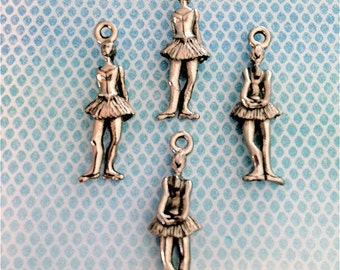 Ballet dancer with Hands Behind her Back Charms ---4 pieces-(Antique Pewter Silver Finish)--style 752--Free combined shipping