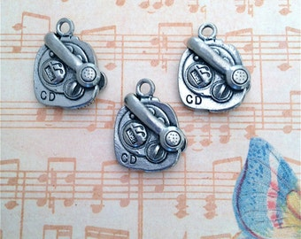 CD Player w/ Attached Headset Charms ---3 pieces-(Antique Pewter Silver Finish)--style 823-Free combined shipping