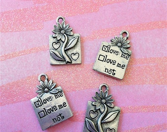 Love Me--Love Me Not (2- sided) Charms --4 pieces-(Antique Pewter Silver Finish)--style 856-Free combined shipping