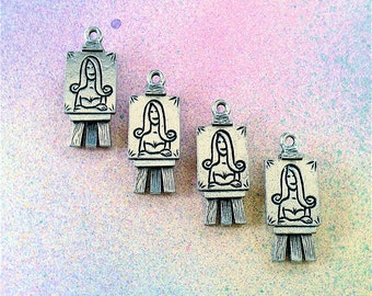 Artist Easel Charms --4 pieces-(Antique Pewter Silver Finish)--style 935-Free combined shipping