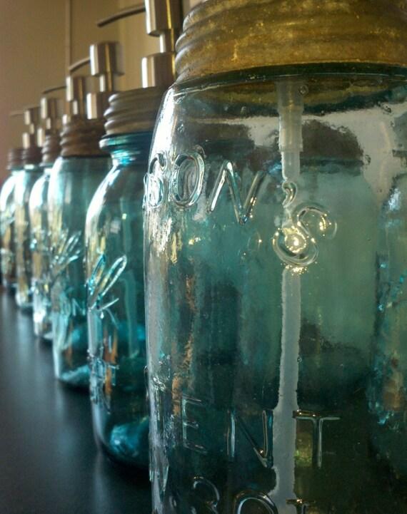 Antique Blue Mason Jar soap dispenser