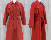 RESERVED Vintage Brick Red Trench Coat with Plaid Lining, Medium