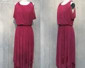 Vintage 70's Purple Dress w/ Rope Belt, Small / Medium
