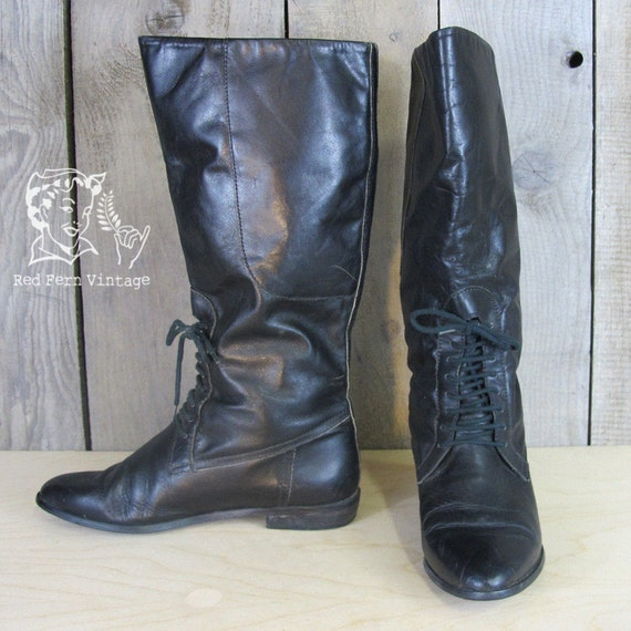 RESERVED Vintage Tall Black Leather Boots, Size 7.5