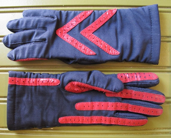 Vintage Black Gloves with Red Leather Trim, All Sizes