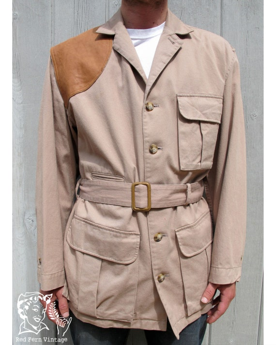 Vintage Mens Banana Reublic Khaki Safari Jacket, Size Large