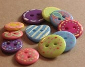 Painted Buttons, Whimsical Buttons for Sewing or Crafts