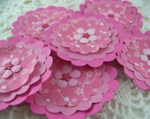 Paper Flower Posies for Scrapbooking Card Making Altered Art Pink Floral Embellishments