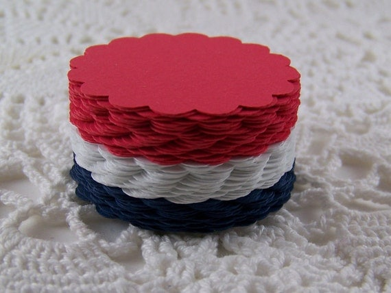 Scalloped Circles Die Cuts Summer Patriotic Red White Blue Colors for Scrapbooking Card Making Cupcake Toppers Set of 75