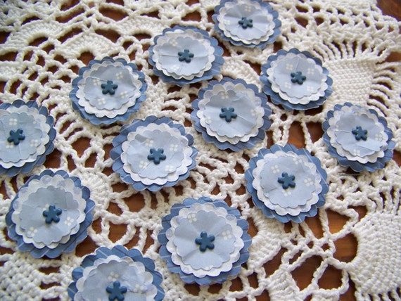 Paper Flower Posies for Scrapbooking Card Making Altered Art Blue set of 12