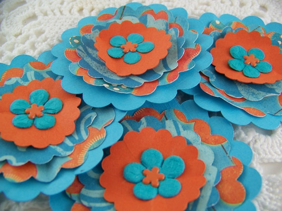 Paper Flower Posies for Scrapbooking Card Making Altered Art Orange and Teal Embellishments