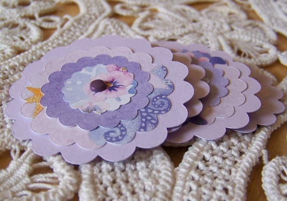 Paper Flower Posies Lavender for Scrapbooking Card Making Altered Art - set of 6