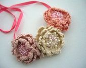 Crochet Necklace Choker Bracelet Hairband - Three Roses