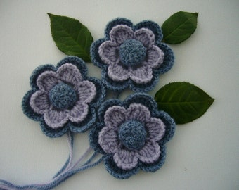 Crochet Applique - Crochet Flowers Corsage Brooches Pack of 3