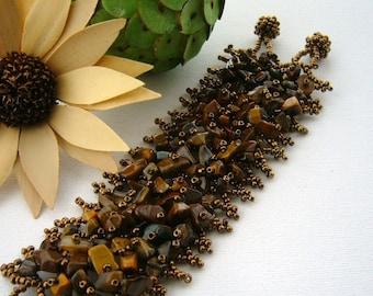 Beaded bracelet - Brown Bracelet - Tiger's Eye Gemstone Chip Beads Weave Charm Bracelet Bangle