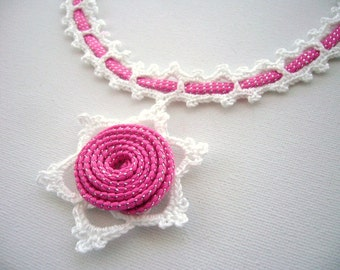 Crochet Necklace - Crochet Choker - Pink Necklace - Shabby Chic Necklace