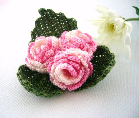Crochet  Brooch -  Pink Brooch - Corsage  - Romantic Pink Roses Shabby Chic Roses