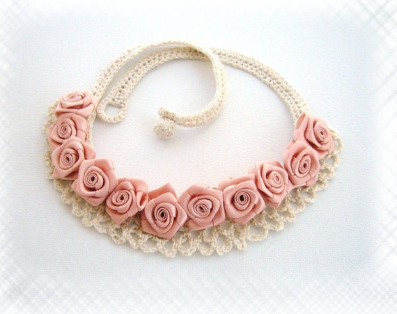 Hand Crochet Natural Linen and Satin Ribbon Roses  Necklace Choker