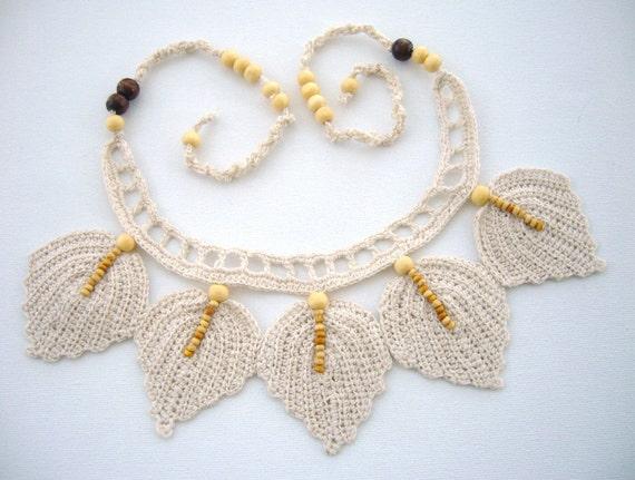 Hand Crochet Natural Linen  Necklace Choker Leaves