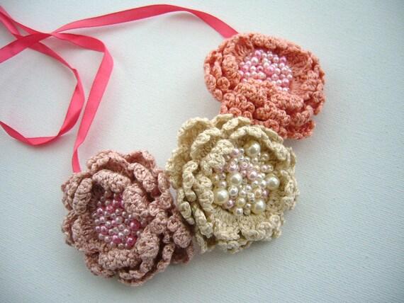 Crochet Necklace Choker Bracelet Hairband - Three Roses