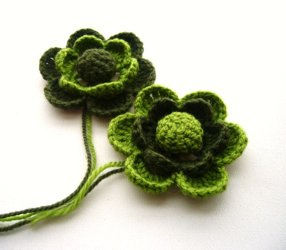 Crochet Applique - Crochet Flowers Brooches - Home decor - Pack of 2