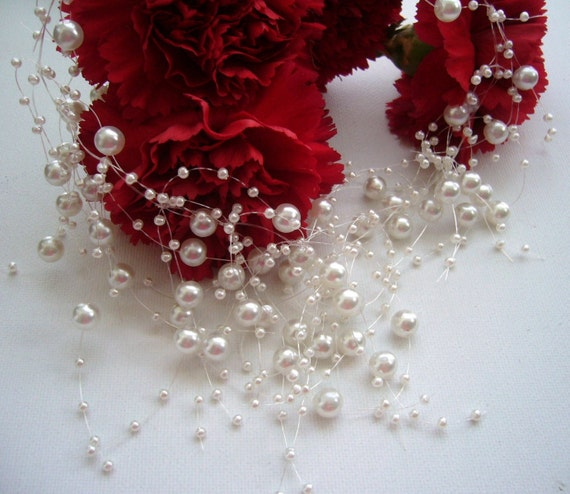 Floating Necklace and Earrings Set - Faux Pearl Handmade Fashion Jewellery