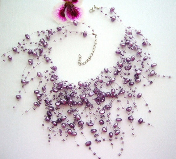 Handmade Fashion Jewelry Profiled  Faux Pearl Floating Purple  Necklace and Earrings Set