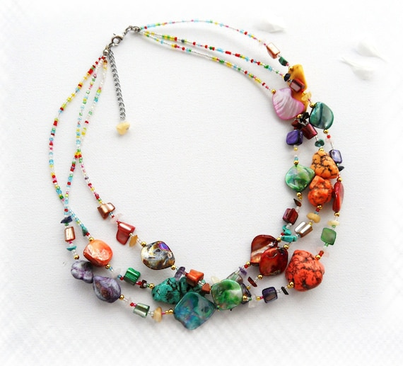 Handmade Fashion Jewelry Multi Coloured Turquoise and Shell Chips Necklace