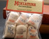 Vintage Miniature Dollhouse Collectibles Sacks Coffee Flour Sugar Salt Potato