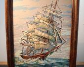 Vintage framed Paint by Number Clipper Ship