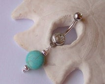 Belly Button Ring - Belly Button Jewelry - Magnesite Genuine Gemstone Dangle with Corrugated Rounds - Ready to Ship