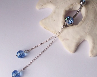 "Belly Button Ring - Belly Button Jewelry - Sapphire Blue Crystal and Sterling Silver Chain - 3 1/4"" Long Dangle - Made to Order"