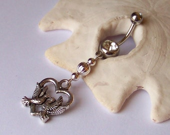 Belly Button Ring - Piercing - Curved Barbell - Navel Piercing - Lovebirds Tibetan Silver Pendant