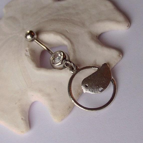 Belly Button Ring - Piercing - Curved Barbell - Navel Piercing - Tibetan Silver Little Bird Charm