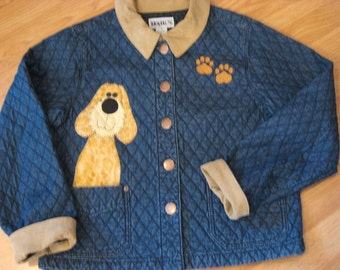 Quilted stonewashed denim jacket, size small, with tan corduroy collar and cuffs with adorable dogs in a basket.