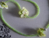 """Lime Green 39"""" Beaded Floral Necklace"""