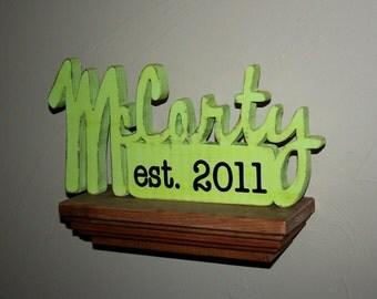 FAMILY NAME ESTABLISHED - Custom Family Name established sign, rustic wood sign home decor, wedding