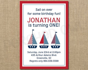 Sail On Over Sailboats Birthday Invitation - Digital File