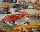 Phil's Drive In Pin-Up Fabric - Grey Background - Alexander Henry Fabric 1 Yard