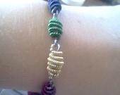 Multi-colored Wire Bead Bracelet