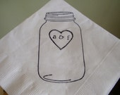 Rustic Personalized White Mason Jar Wedding Cocktail Napkins with Heart and lower case Initials- set of 100