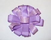 Hair Bow in Light Purple and Pink Scroll