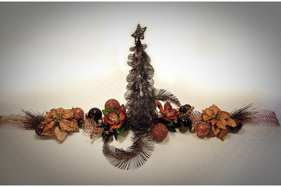 Elegant Copper & Chocolate Christmas Tree Table Centerpiece- 5 ft