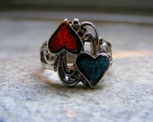 Reserved for Esme....  Vintage Red and Blue Turquoise Inlaid Heart Style Ring