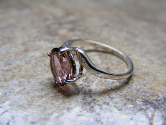 New Sterling Silver Offset Designed  Ring With Natural  Pink Tourmaline Gemstone