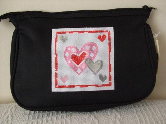 black toiletry/cosmetic/make-up/medicine bag with Valentine cross stitch design