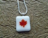 Maple leaf fused glass necklace
