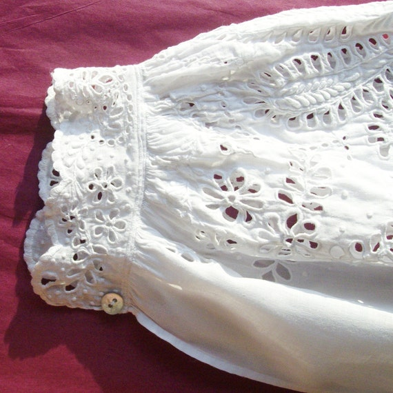 1850s Restored Antique Victorian Lawn False Sleeves with Whitework - Collector's Piece