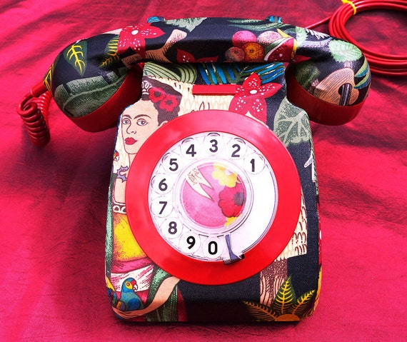 Unique Frida Kahlo Upcycled Decorated Vintage Rotary Phone FULLY WORKING