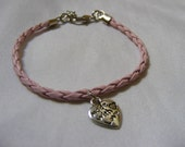Pink Leather Bracelet with Silver Tone heart Pendant